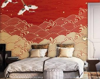 Japanese Design Waves Drawing Wallpaper,home Decor, Wall Art,peel And  Stick Wall Decor Self,Adhesive Wall Mural Reusable,wall Decal,clipart,