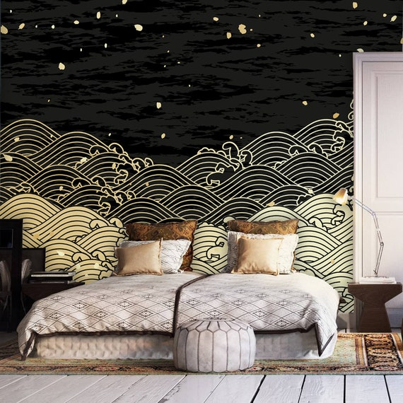 Made to Measure Wall art decals Home wall decor Japanese Seamless Waves Wallpaper Mural- Non woven wallpaper Feature Wall