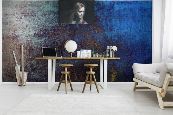 Iron Grey Wallpaper Fondo Grunge Texture Blue Dirty Metal Wallpaper Peel And Stick Wall Decor Self Adhesive Wall Mural Reusable