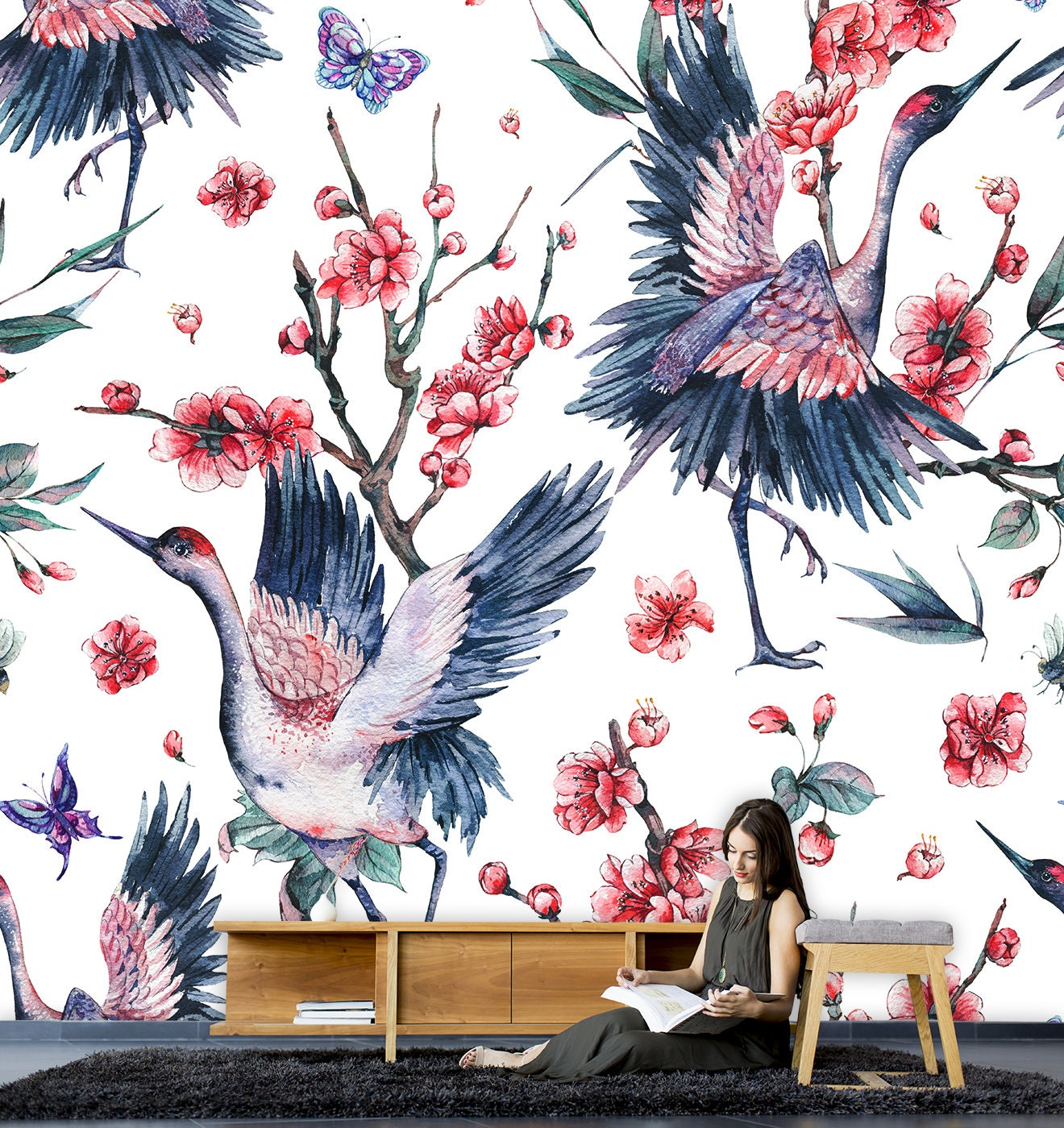 Oriental Birds Wallpaperhome Decorpeel And Stick Wall Etsy
