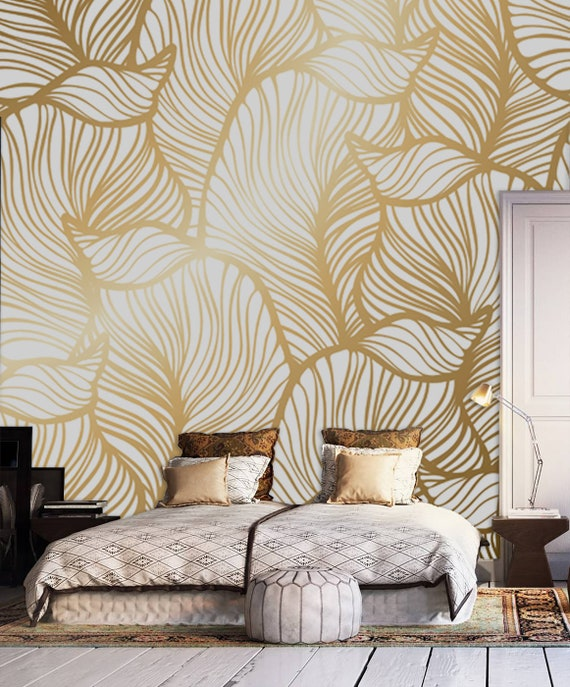 Leaf Wallpaper Print Painting Home Decor Wall Decal Removable Peel And Stick Wallpaper Wall Decor Sticker Clipart Art Print Boho Retro