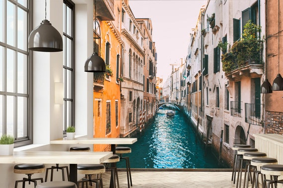 Romantic Italy Venice Illustration Wallpaper Beautiful Old Hause And River Art Peel And Stick Wall Decor Self Adhesive Wall Mural Reusable