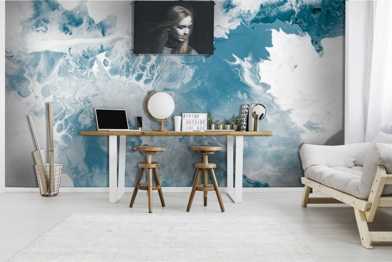 abstract acrylic aquatic art,creative wall blue Peel and stick-Wall decor Self Adhesive Wall Mural-Reusable Blue marble texture wallpaper