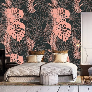 Print painting wallpaper,bird cage,oriental,wall decal,removable peel and stick wallpaper,clipart,wall decor,pressed flowers,sticker,boho