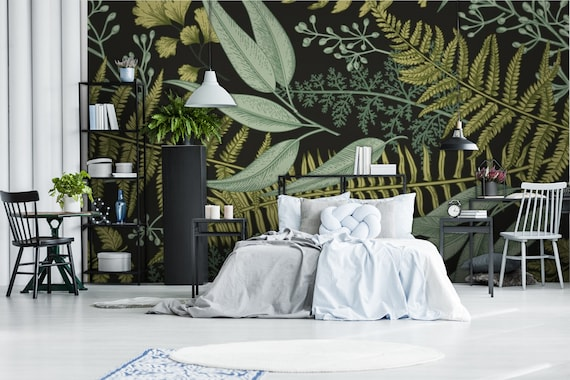 Tropical Floral In Vintage Style Wallpaper Botanic Art Classic Decoration Fern Peel And Stick Wallpaper Self Adhesive Wall Mural Reusable