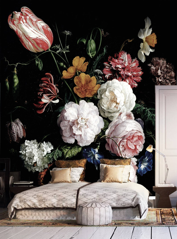 Dark floral peel and stick wallpaper Dutch flowers oil image 0