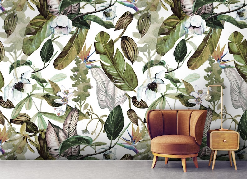 Tropical wild white beautifull magnolia and orchid with green exotic  leaves,art Peel and stick-Wall decor-Self, Adhesive Wall Mural-Reusable