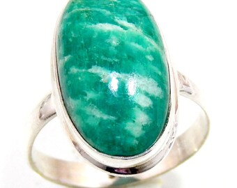 Huge Amazonite Pure 925 Sterling Silver Handmade Jewelry Ring Us Size 7.5'' Genuine Amazonite Stone High Fininshed  Silver Ring
