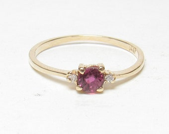 Little 10K Yellow Gold 0.24 Ct Natural Round Ruby And Diamond Ring