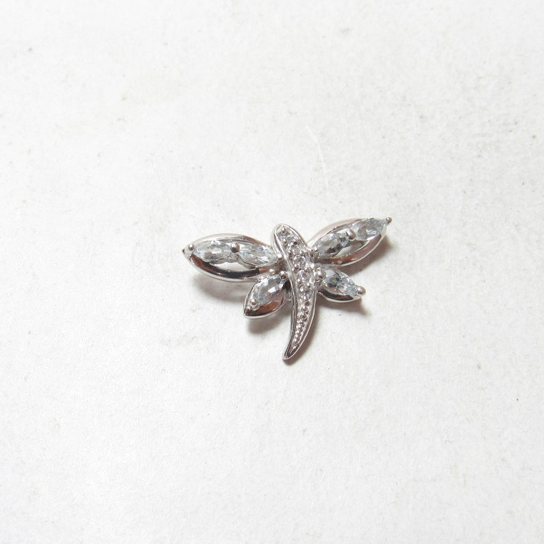 Little 10K White Gold Natural Light Blue Aquamarine White Topaz Dragonfly Pendant Estate