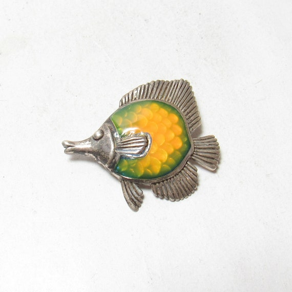KABANA Sterling Silver Enameled Longnose Butterflyfish Pendant Estate