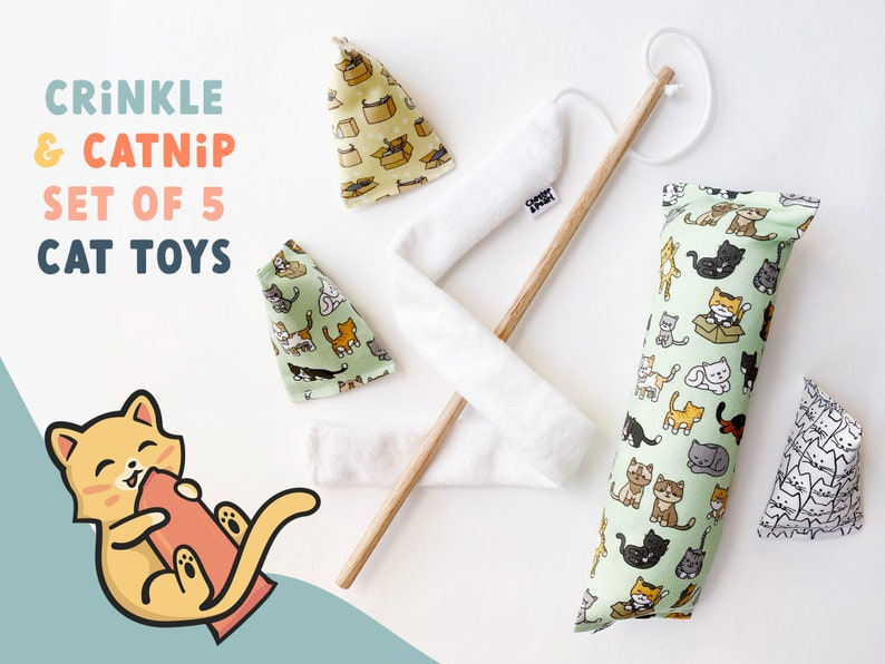 5 CAT TOYS gift set for new cat  cute catnip cat toy with image 0