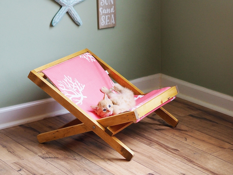 Admirable Modern Cat Furniture Cat Hammock In Sling Beach Chair Style With Reversible Coral And Gray Stripe Cover For Coastal Decor Ocoug Best Dining Table And Chair Ideas Images Ocougorg