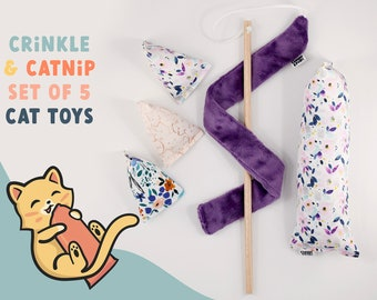 5 CAT TOYS Christmas cat gift set | beautiful watercolor catnip cat toy with crinkle, cat kicker toy + 3 chase toys + cat teaser wand toy