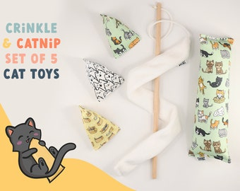 5 CAT TOYS gift set for new cat | cute catnip cat toy with crinkle sound, cat kicker toy + 3 Pouncers chase toys + cat teaser wand toy