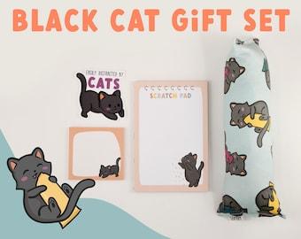 BLACK CAT gift set | catnip crinkle kicker cat toy + black cat notepad + sticky notes + vinyl sticker ... purrfect Christmas cat lover gift!