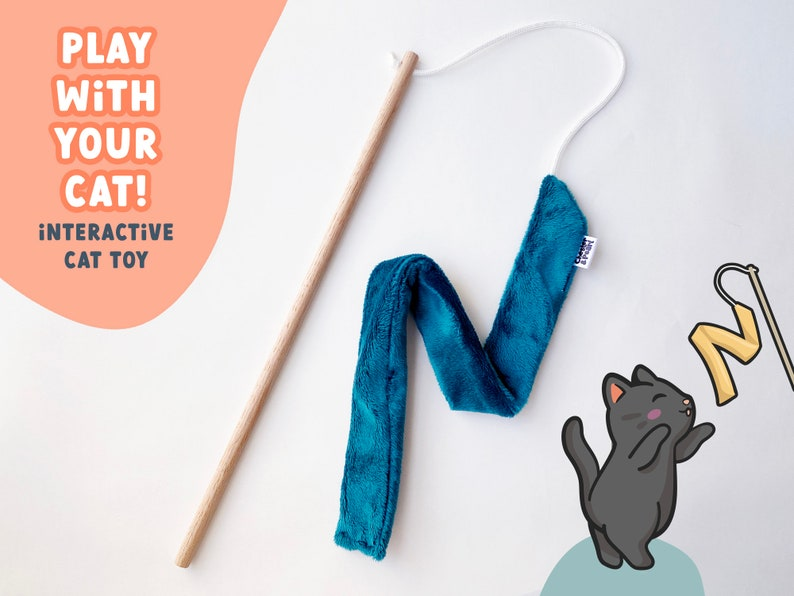 Teal Chaser cat toy  teaser cat toy wand interactive cat toy image 0