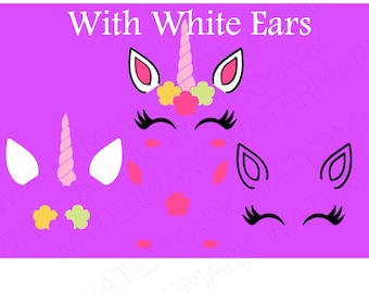 Unicorn Head With White Ears Cutout Files for Cricut SVG and Silhouette Studio File Cut Out Stencil Decal Logo SVGS Fantasy Face Decoration