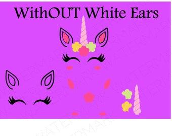 Unicorn Head NO White Ears Cutout Files for Cricut SVG and Silhouette Studio File Cut Out Stencil Decal Logo SVGS Fantasy Face Decoration