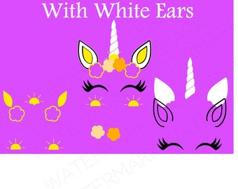 Summer Unicorn Head WITH White Ears Summer Cutout Files for Cricut SVG and Silhouette Studio File Cut Out Stencil Decal Logo SVGS Flower