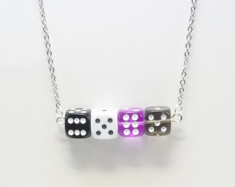 Demisexual, a pride necklace made with hand-drilled dice beads, unisex, great for gifting or treating yourself