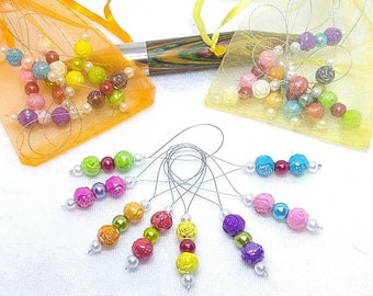 Wicked Garden, floral stitch markers, jumbo stitch markers, lightweight, closed stitch markers, jumbo knitting, 20mm needles or smaller