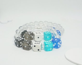 Frayromantic, a pride bracelet made with hand-drilled dice beads, unisex, great for gifting or treating yourself