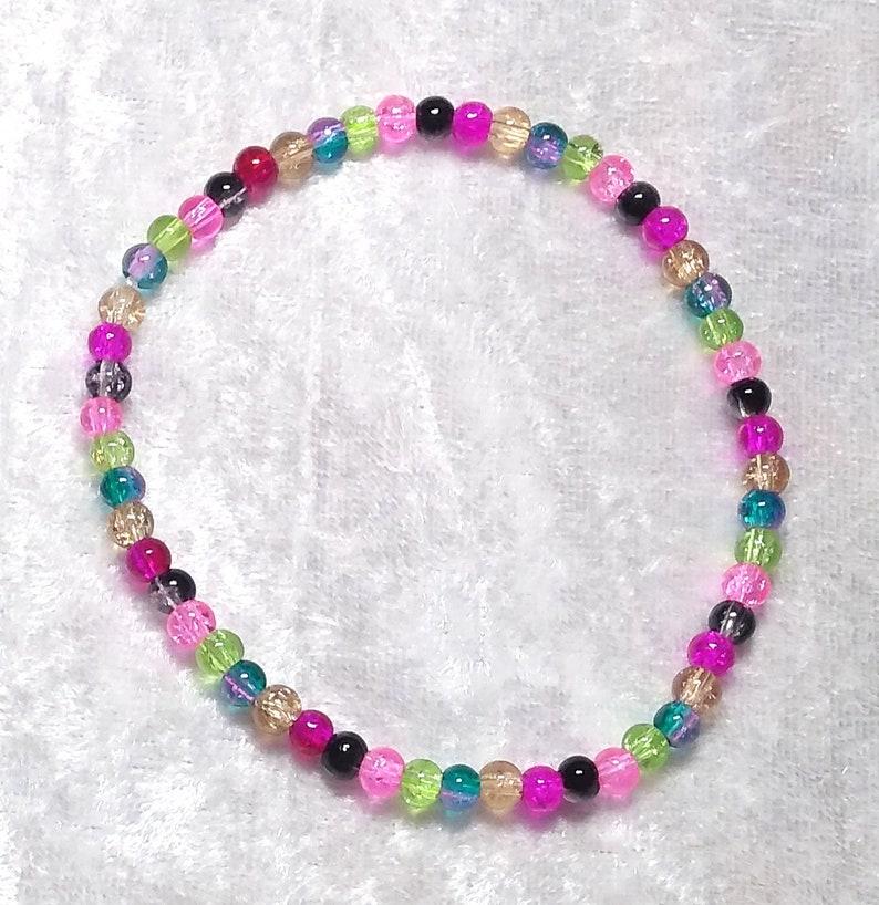 Soul Gems stim stretchy adult bracelet 4mm crackle beads beaded bracelet