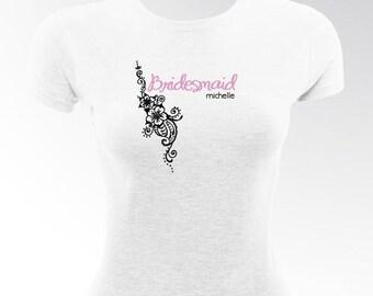 Tropical blooms bridesmaid tshirt