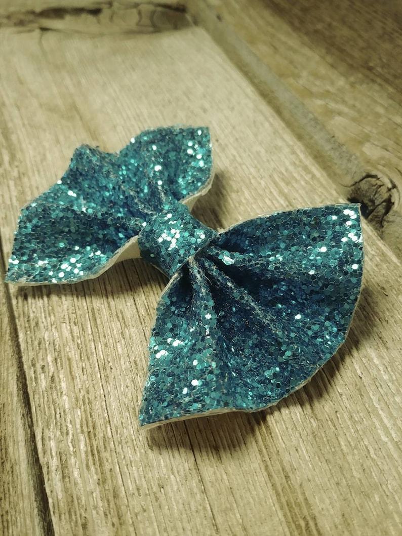 Alligator Clip Pigtail Set- Baby Teal Glitter- Hair Bow- Spring Fashion- Baby Fashion- Nylon Headband Toddler Child