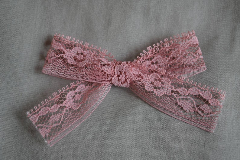 Lace Vintage Bow Pigtail Sets Clips Nylon Headband Dusty Rose Pink Baby Toddler Hair Bow Child