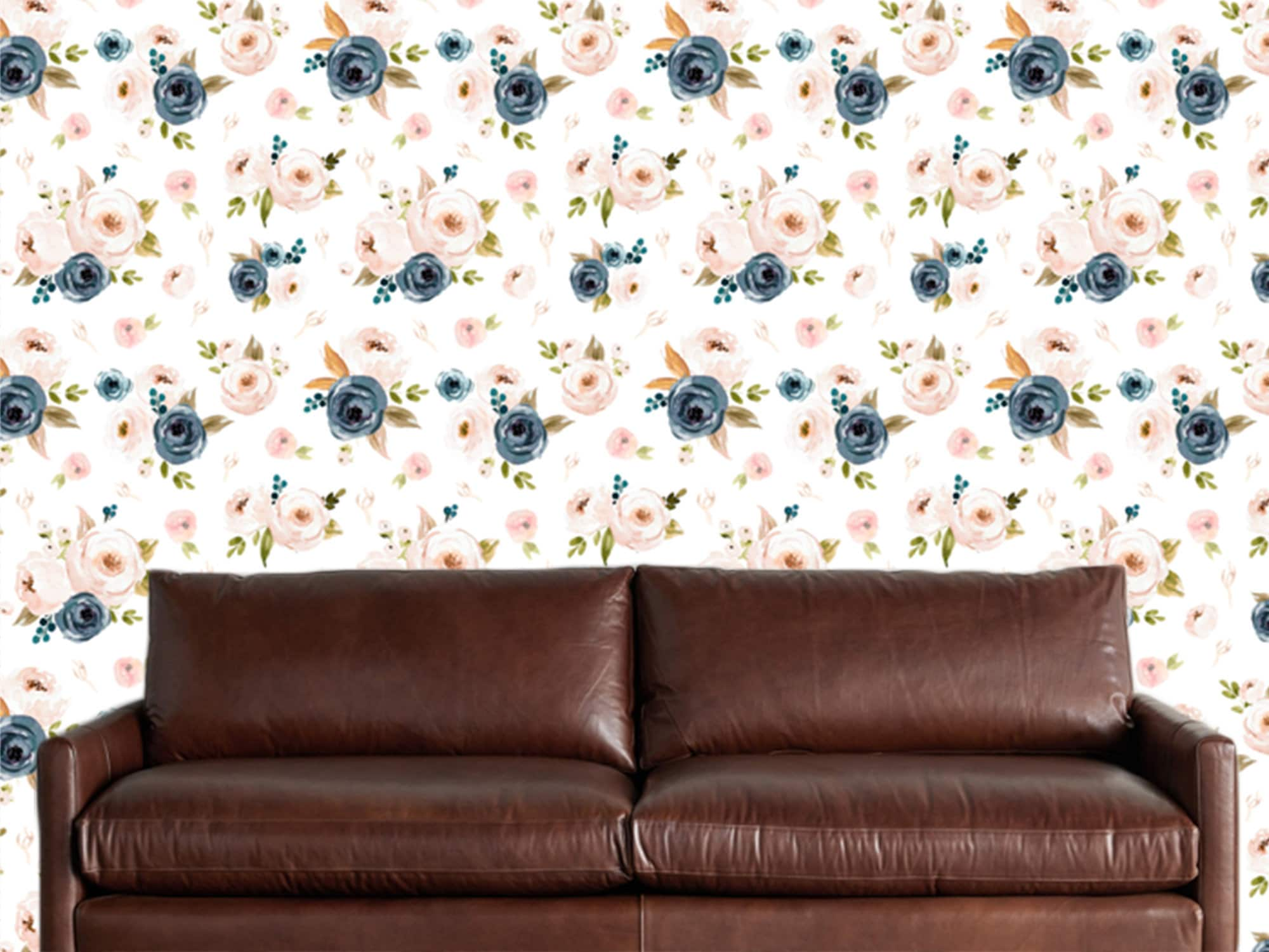 Pink Blue Floral Wallpaper Removable Traditional Wallpaper Peel