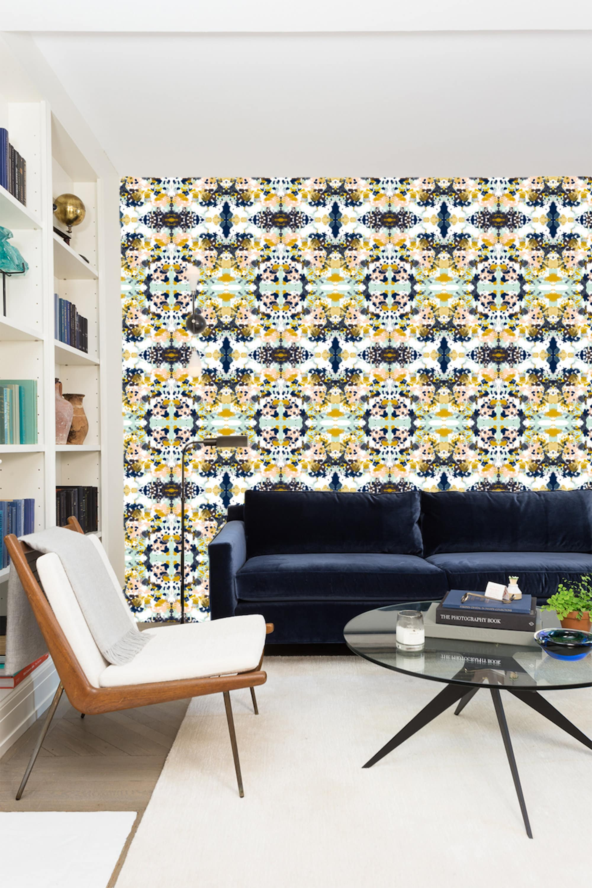 Navy Blue Yellow Abstract Wallpaper Removable Traditional Wallpaper Peel And Stick Wallpaper Navy Blue Wallpaper Self Adhesive Wallpaper