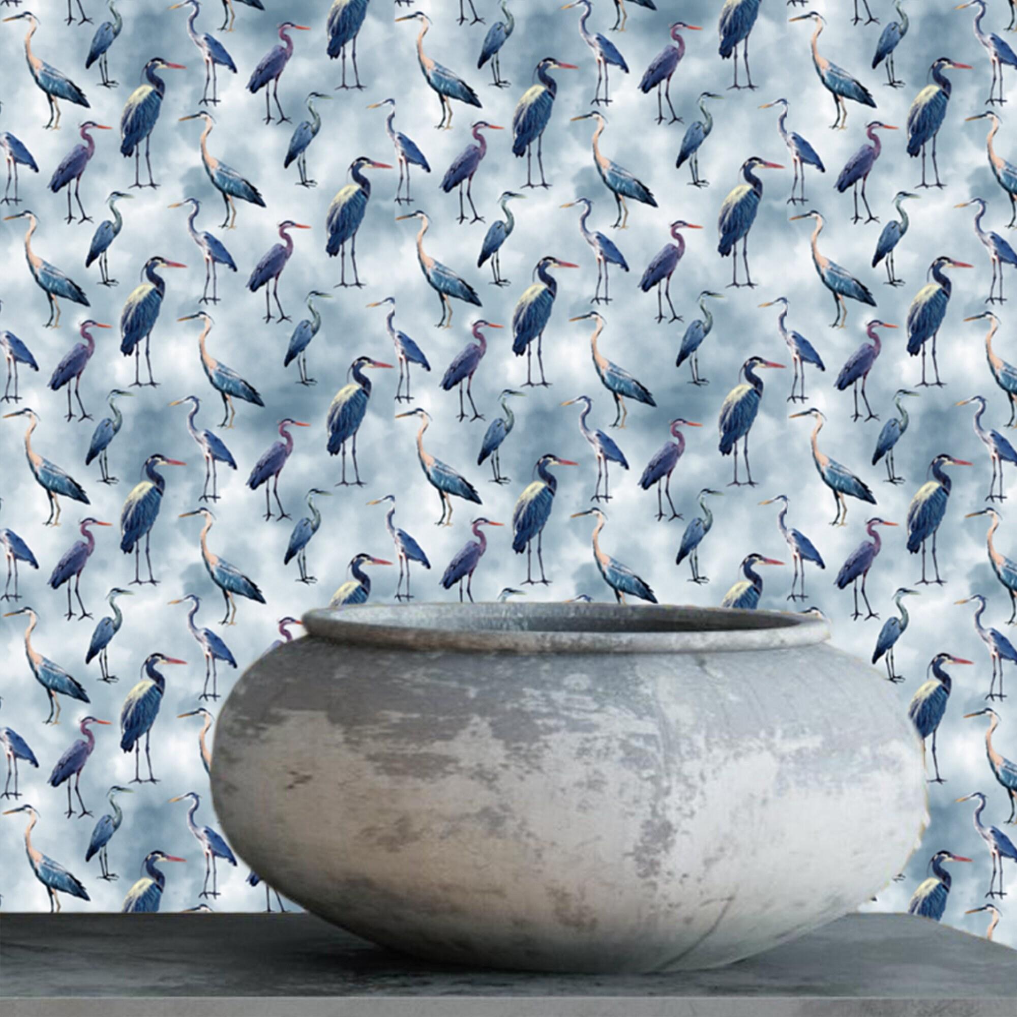 Blue Herons Animal Print Wallpaper Removable Abstract Wallpaper Peel And Stick Wallpaper Blue Herons Wallpaper Self Adhesive Wallpaper