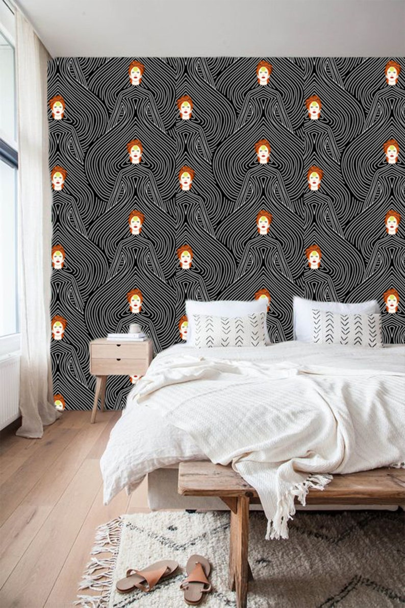 Black White Onion Woman Abstract Wallpaper, Removable Wallpaper, Peel and  Stick Wallpaper, Black White Wallpaper, Self Adhesive Wallpaper