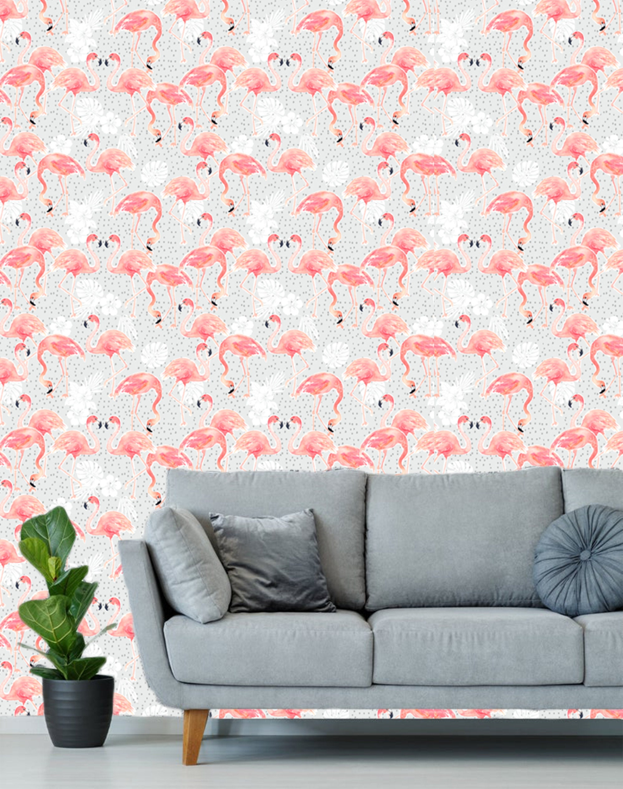 Pink Flamingo Tropical Wallpaper Removable Traditional Wallpaper