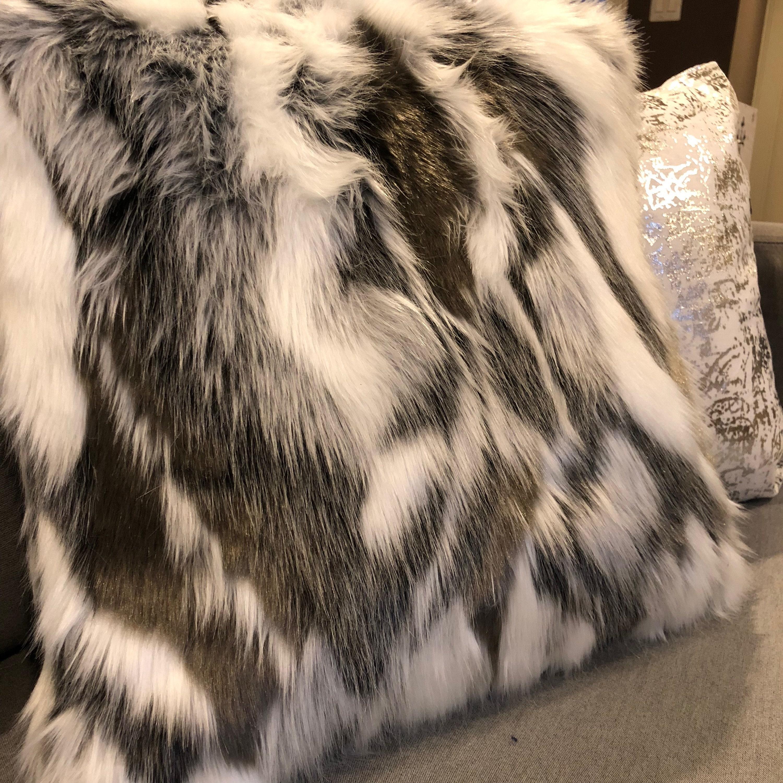 Decorative Throw Pillow Cover Black White Faux Fur Pillow Throw