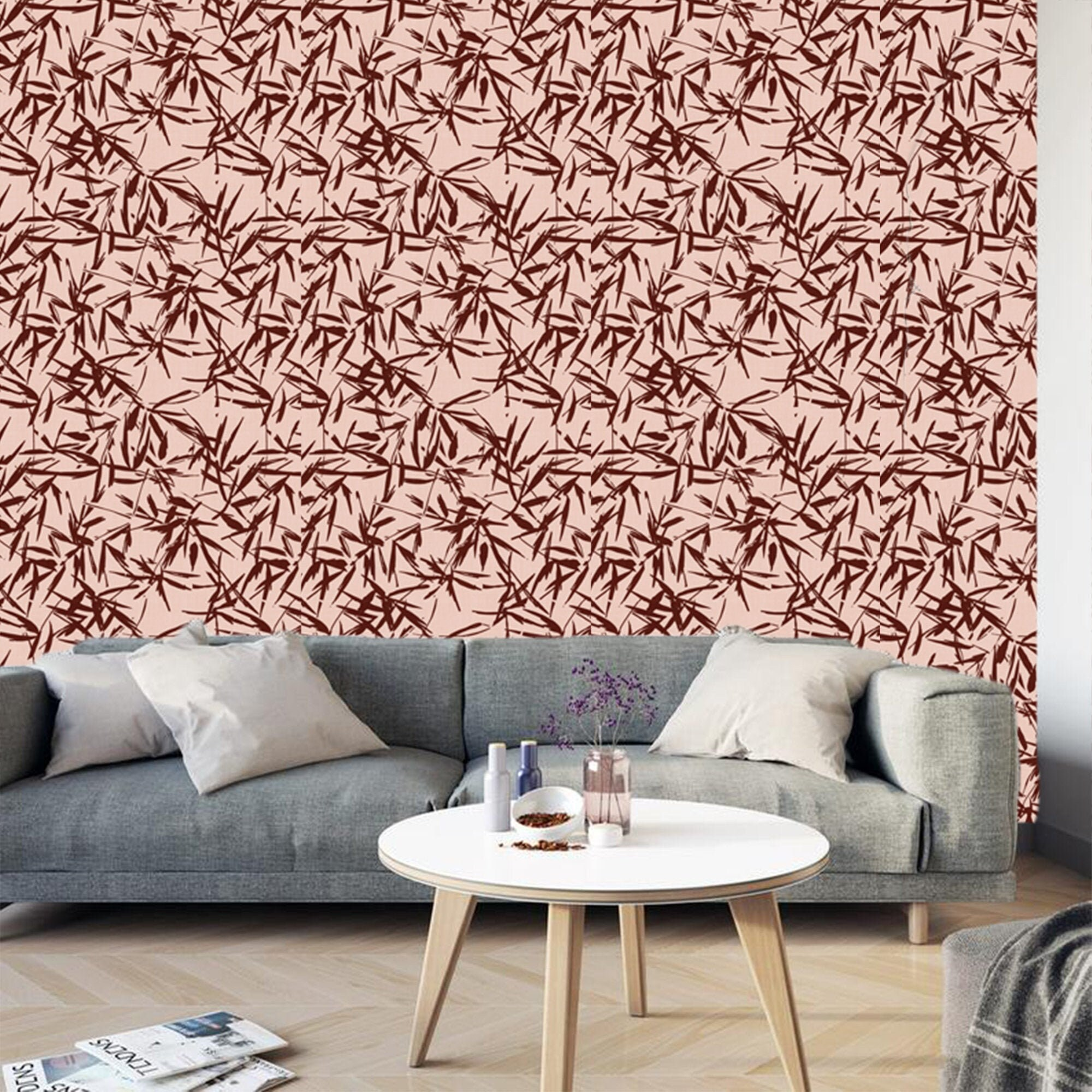 Large Pink Floral Wallpaper Removable Traditional Wallpaper Peel