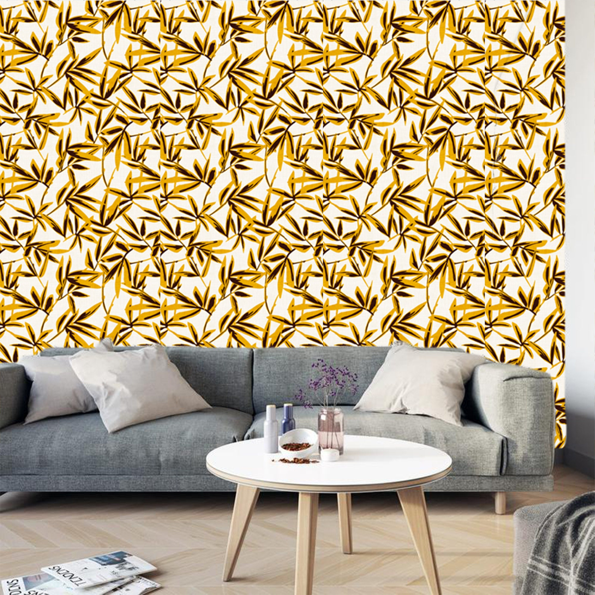 Gold White Floral Wallpaper Removable Traditional Wallpaper