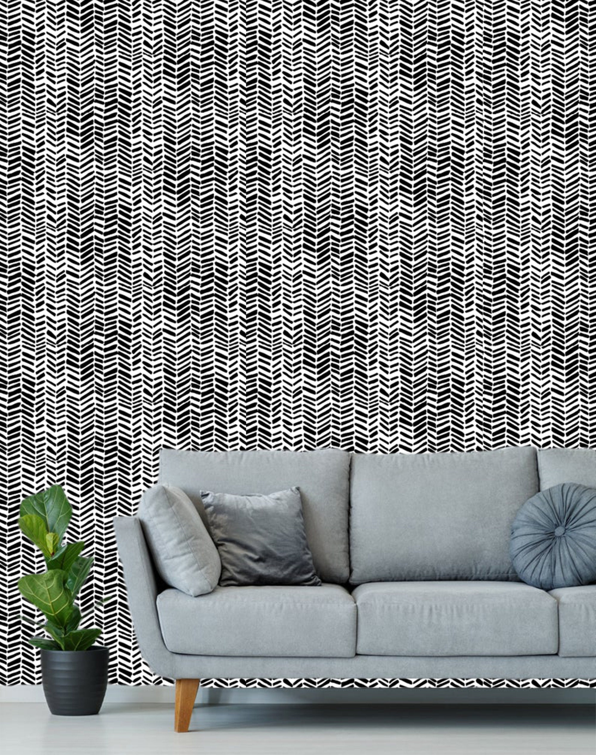 Black White Chevron Wallpaper Removable Traditional Wallpaper Peel And Stick Wallpaper Black White Wallpaper Self Adhesive Wallpaper