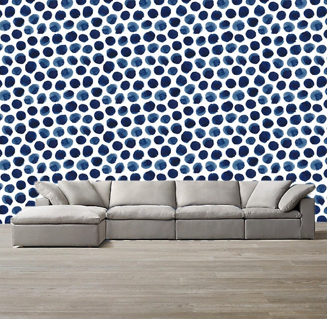 Navy Blue White Abstract Wallpaper Removable Traditional Wallpaper Peel And Stick Wallpaper Blue Wallpaper Self Adhesive Wallpaper