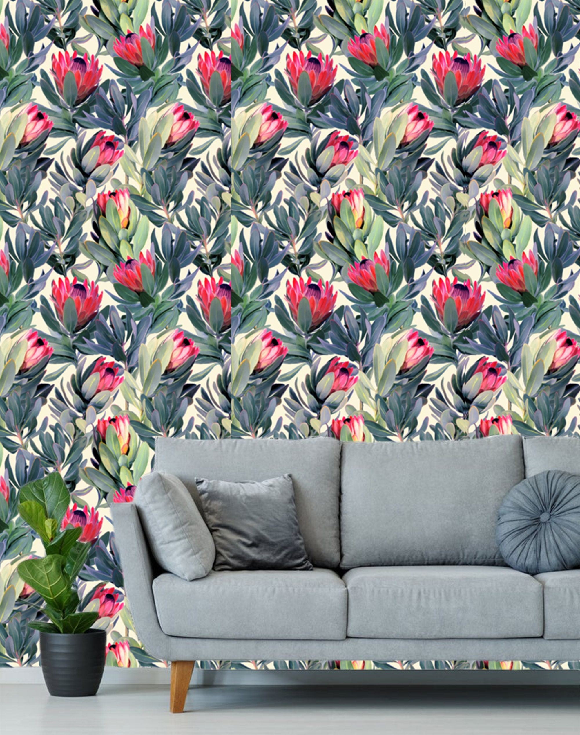 Large Pink Floral Wallpaper Removable, Traditional ...