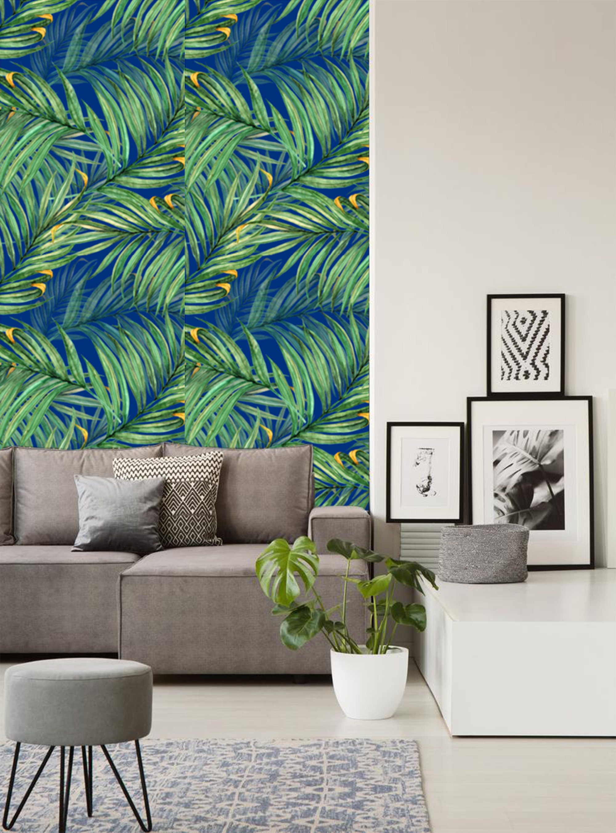 Large Green Blue Palm Leaves Wallpaper Removable Modern Wallpaper
