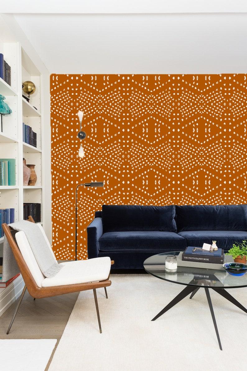 Orange White Wallpaper Self Adhesive Wallpaper Orange White Bohemian Wallpaper Peel and Stick Wallpaper Removable Wallpaper