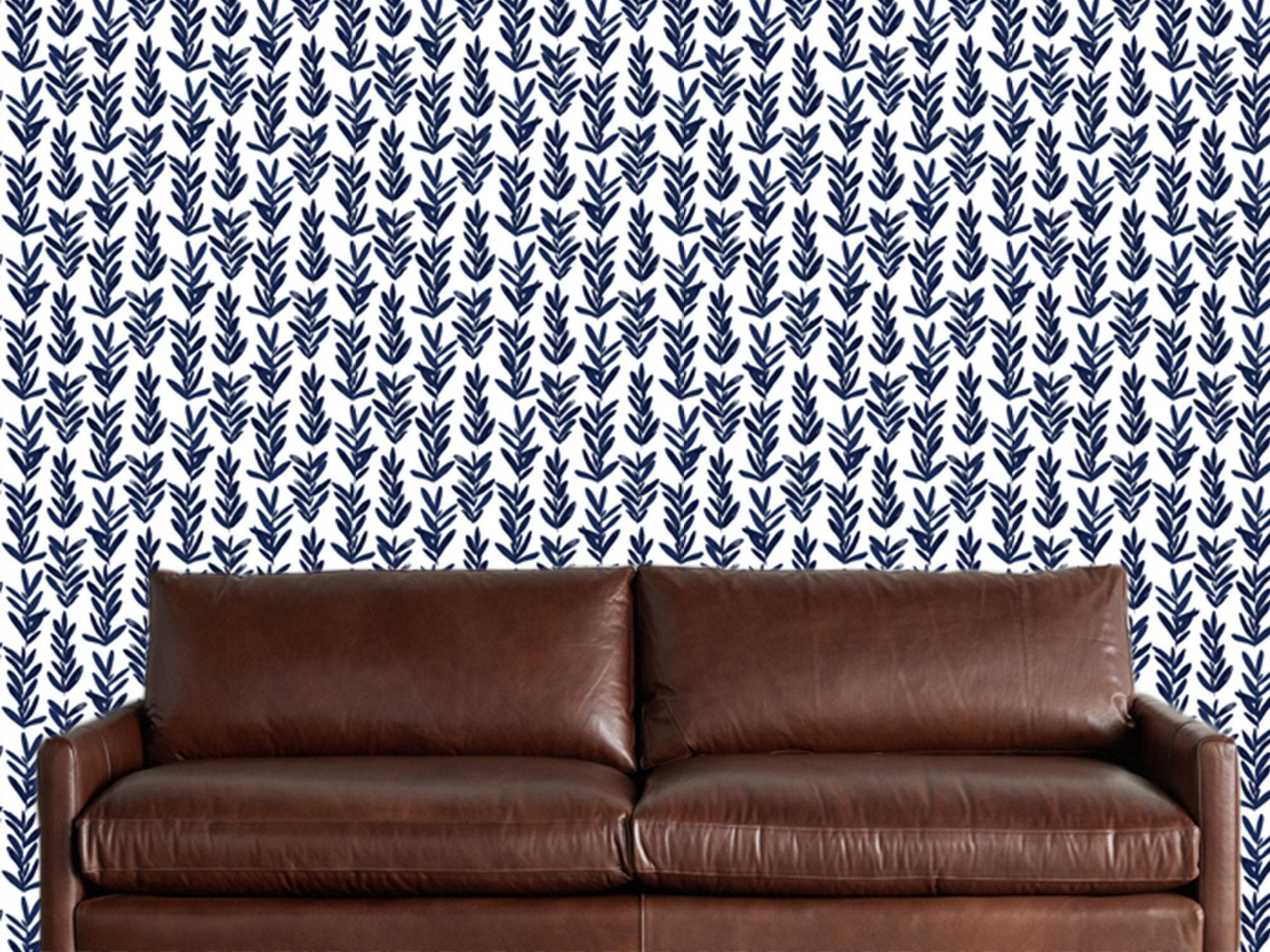 Navy Blue White Floral Wallpaper Removable Traditional Wallpaper