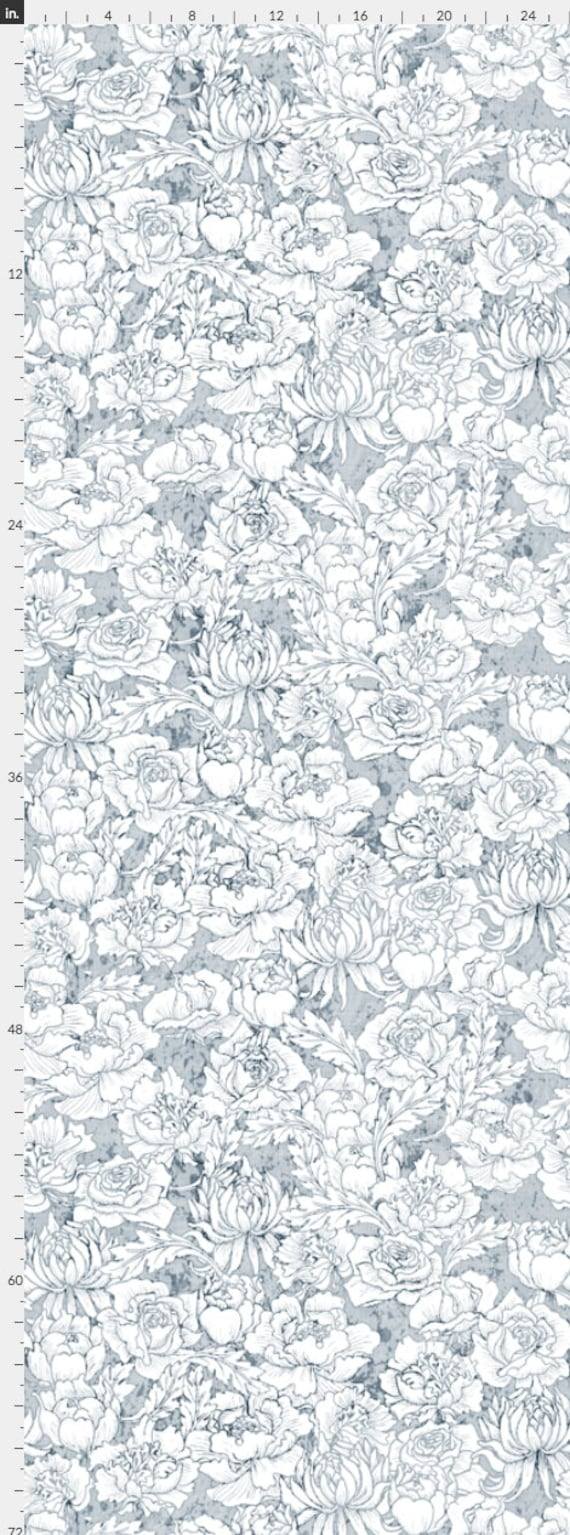 Light Blue Floral Wallpaper Removable Abstract Wallpaper Etsy