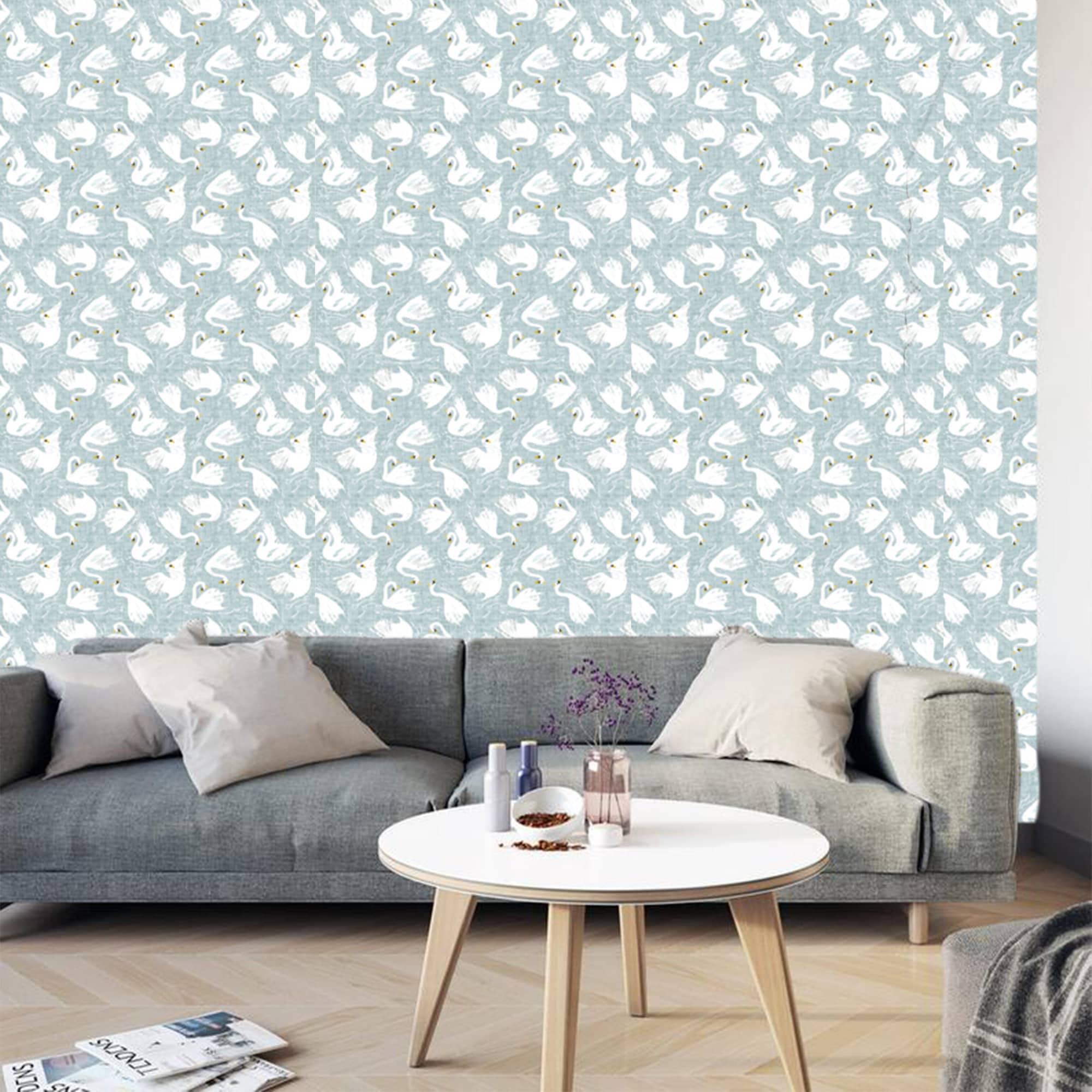 Blue White Swan Wallpaper Removable Traditional Wallpaper Peel And Stick Wallpaper Animal Print Wallpaper Self Adhesive Wallpaper