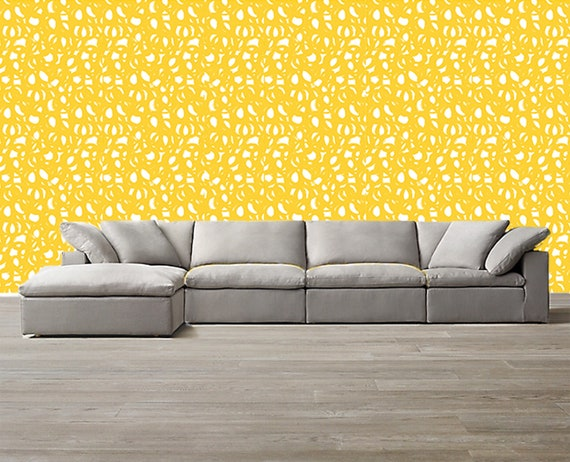 Yellow Abstract Wallpaper Removable Traditional Wallpaper Etsy