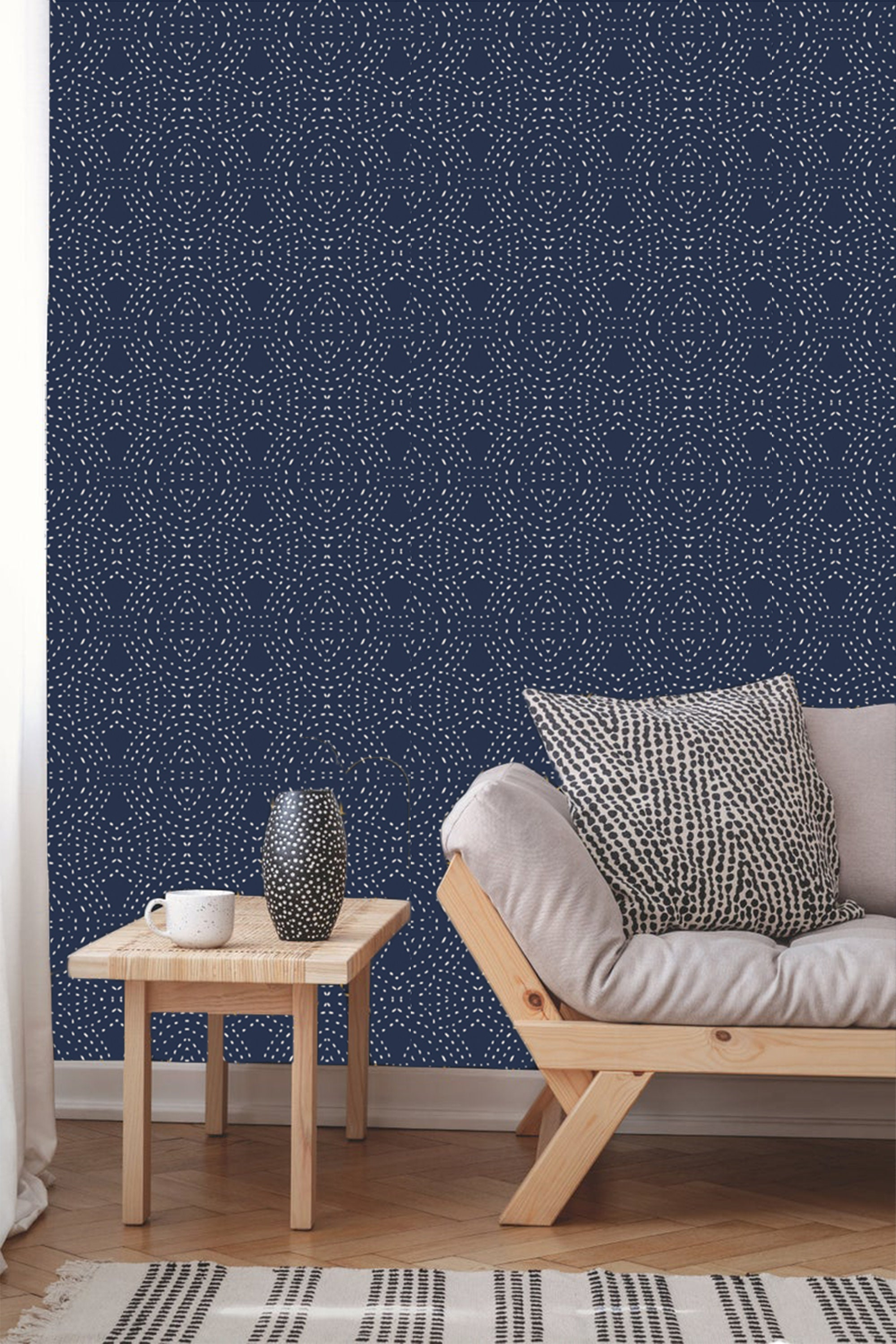 Navy Bohemian Abstract Wallpaper Removable Traditional Wallpaper Peel And Stick Wallpaper Blue Wallpaper Self Adhesive Wallpaper