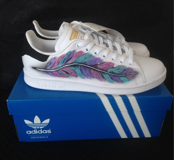 Sneakers, Stan Smith, custom, feather, gift, girl, pink, blue, purple